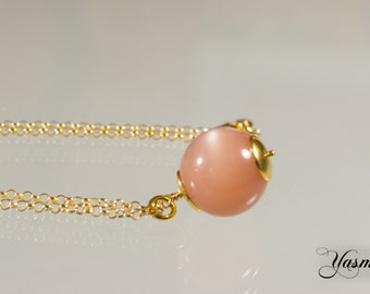 Apricot Moonstone and silver gilt