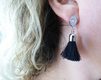 Diamond And Black Cotton Tassel Earrings, Silver Tassel Earrings, Long Tassel Earrings, Bohemian Statement Earrings, Tassle Earrings