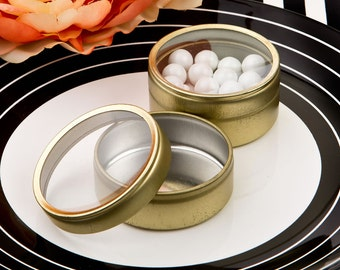 Round Gold Wedding Favor Mint Tins (Pack of 10) Favor Containers