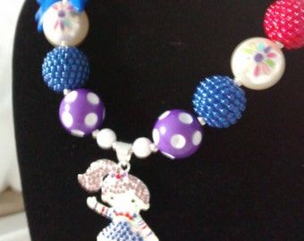 Rainbow bright character chunky necklace