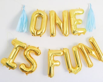 ONE IS FUN balloons - gold mylar foil letter balloon banner kit