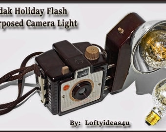 Steampunk Upcycled Kodak Brownie Holiday Flash Silver Mercury Light Bulb Re-purposed into a Brown Camera Table Lamp Light by Loftyideas4u