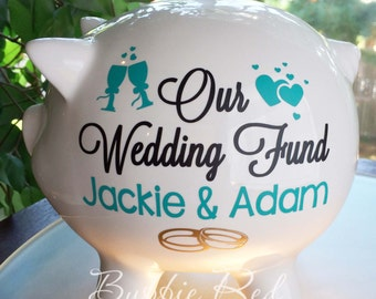 Personalized Wedding Fund Piggy Bank, Engagement Gift, Ring Party,  Piggy Bank,  Custom Piggy Bank, Piggy Bank for Couples