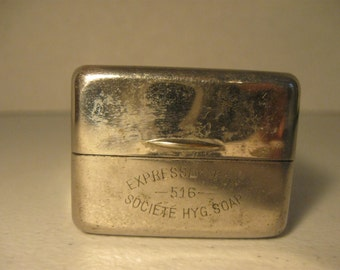 Vintage Societe Hyg Soap Silver Plate Hinged Container for Soap #516