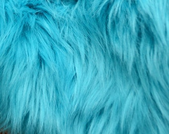 Turquoise Faux Fur FREE SHIPPING Craft Squares, Turquoise Fur Fabric, Turquoise Faux Fur Fabric, Turquoise Fur, Light Blue Fur