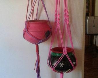 Set of 2 Polycord  hanging planters , macrame plant hangers , indoor/outdoor,bird feeder,pink,purple coloured plant holders.garden decor.