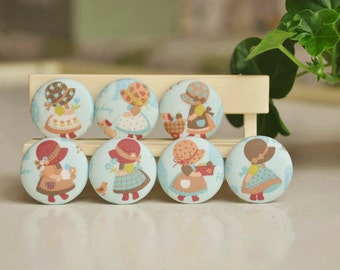 7pcs 3.2cm blue with cute girl fabric button covered buttons kids clothes buttons earring and bracele supply