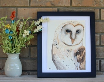 Original Hand Painted Barn Owl Watercolor Painting (9x12)