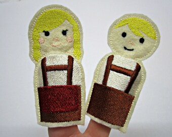Finger Puppets Hansel and Gretel / Toy / Game / Felt / Embroidery