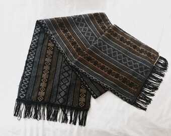 Vintage black & yellow tribal scarf
