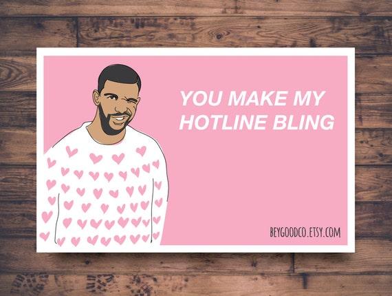 printable valentines day card drake hotline bling funny valentine card celebrity pop culture hip hop printable digital card - Etsy Valentines Day Cards