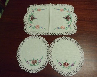 Three  Flower  Doily, Hand crocheted and Embroidered