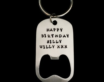 Hand Stamped Personalized Brushed Stainless Steel Bottle Opener Happy 21st Birthday Keychain Gift