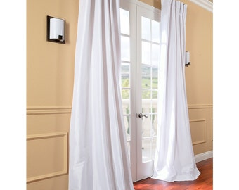 white faux silk curtain panel two panel home drapery
