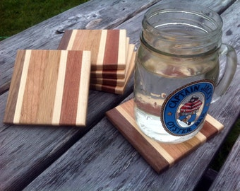 Square Wood Coaster Set of 6