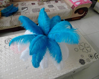 50 white & bluepcs Ostrich Feather Plume for Wedding centerpieces,