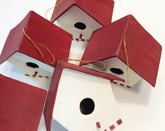 Birdhouse Ornaments, Red & White - Set of 6