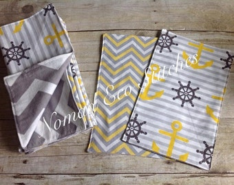 Reusable UnPaper Towels - set of 10- Yellow Anchors/Flannel