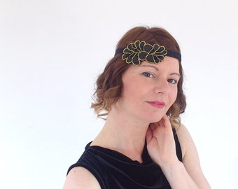 "Black retro marriage now ""Charlène"" Headband"