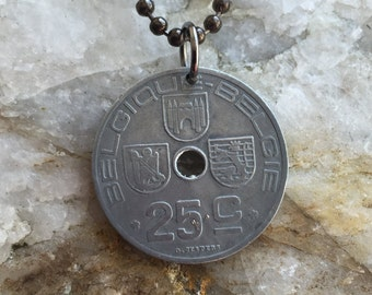 1943 BELGIQUE-BELGIE 25C coin pendent on a 24 inch ball chain necklace.