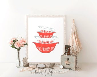 Printable art, Red pyrex art print, Vintage pyrex decor, Red kitchen wall decor, Vintage kitchen art print, Pyrex HEART OF LIFE Design