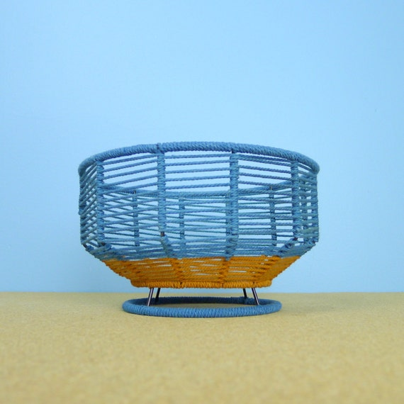 How To Weave A String Basket : Vintage woven string and metal basket blue brown by