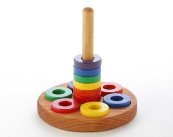 Wooden Ring Stacker Toy - Round - Montessori