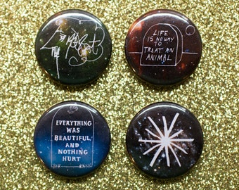 Kurt Vonnegut drawings 1 in button pin set space