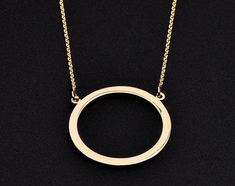 14K Polished Gold Circle Of Life Karma Necklace , Eternity Circle Pendant Necklace . karma present karma gift Hinduism jewelry Hindu jewelry