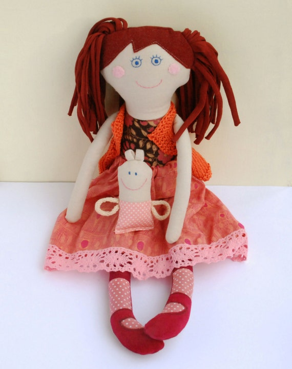 Stuffed Orange Doll, Mom and Baby, Rag Cloth  Dolls, Family dolls, Handmade Textile Doll for Daughter,  Gift for Girl, Retro Doll and Baby