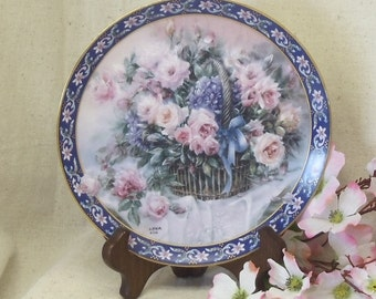 """Vintage W S George Fine China 1992 Collector Plate, Lena Liu's Basket Bouquets, """"Roses"""", Bradex Limited Edition, #VB7137"""