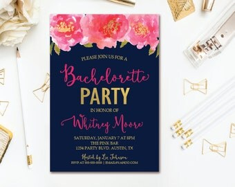 Navy Bachelorette Invitation Pink & Gold Florals Hens Party - Printable Invites