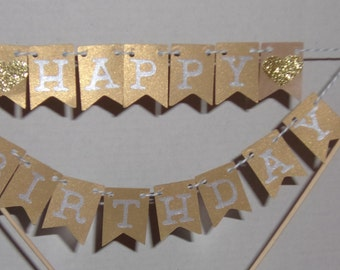 Happy Birthday Cake Topper, Gold and Silver Cake Topper, Cake Topper, Happy Birthday, Mini Banner, Birthday Cake topper,
