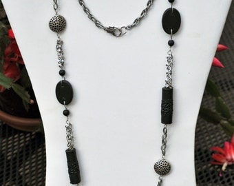 Extra Long Antique Silver and Black Necklace and Earring Set