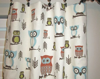Curtain Panels, Woodland Owl Window Covering, Nursery Window Treatment, Pair of Curtain Panels
