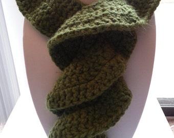 Green Scarf, Scarf, Crochet Scarf, Crochet Green Scarf, Handmade Green Scarf, Green Crochet Scarf