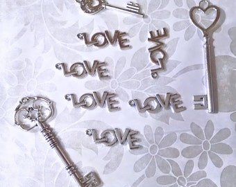 Silver Charms - Large Love Charm - 12 Big Love Charms - Antique Silver Love Pendant - Say It Large With These Great Love Pendants - CH-S018