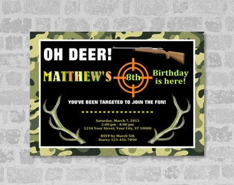 Hunting Theme Birthday Party Invitation, Deer Antlers Hunting Invitation, Camouflage Invitation, Digital File