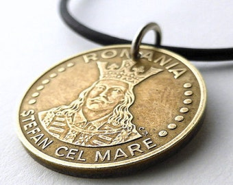 Romanian necklace, Coin necklace, Coin Jewelry, Men's necklace, Leather necklace, Vintage necklace, Upcycled necklace, Romanian coins, 1991
