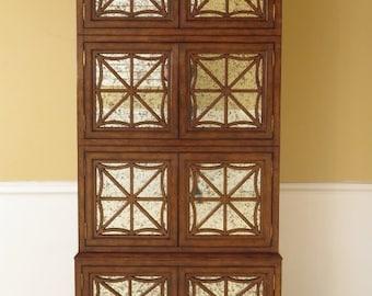 26583E:  Tall Mahogany Mirrored Glass 8 Door Designer Cabinet