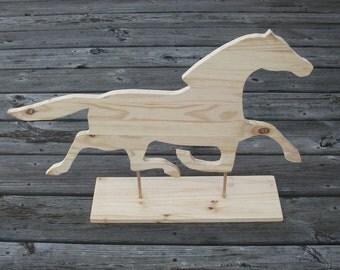 Wood Horse Weathervane Silhouette kit, DIY Unpainted Paint your horse, Rustic home or barn decor, Primitive Americana Folk Art Running Horse