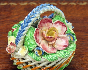 Capodimonte Flower Basket ~ Small Centerpiece ~ Made in Spain ~  Great for Easter or Spring ~ Colorful and Very Pretty!