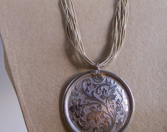 Necklace metal pendant Art Nouveau 1920  OOAK pendant upcycled sewing machine gift for her