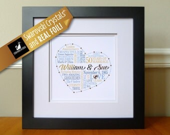 50th Anniversary Framed Picture, Framed Custom Gift for Parents, Grandparents, Personalized 50th Anniversary Framed Print, Word Art