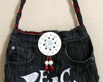 PEACE -- Denim Handbag -- Item Number 1232 -- 16 Pockets