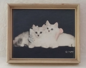 Vintage Framed Kitten Photograph Signed Bradley R. Currey Hand Colored Photograph 1940s Cat Photography White Persian Kittens Shabby Chic