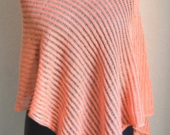 Hand knitted light women's poncho