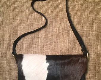 SOLD Cowhide Messenger (black, brown and white)
