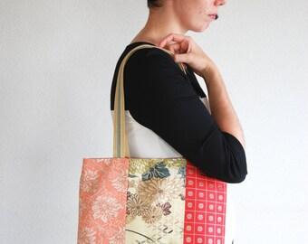 Vintage Japanese obi book tote bag