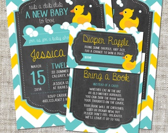Rubber Duck Baby Shower Invitation, Rubber Duck Invitation, Rubber Duck, Yellow, Teal, Chevron | Printable